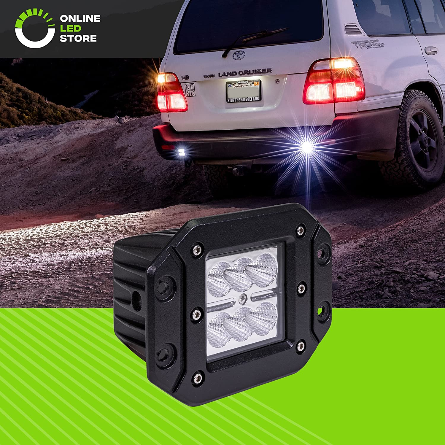 2pc 7' Ultra-Slim Single Row Off Road CREE LED Light Bar [1530lm] [18W] [IP68 Waterproof] [12V - 24V] Fog/Driving / Work Lights for Trucks ATV Cars - 60 Degrees Flood Light ONLINE LED STORE