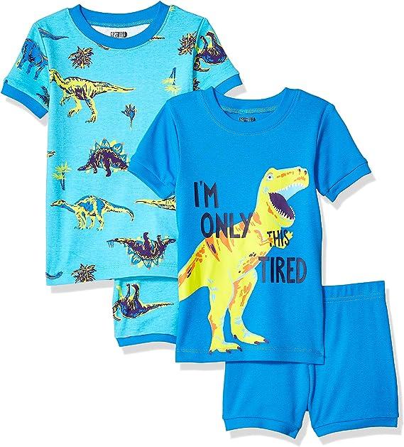 Pacco da 4 Marchio Spotted Zebra 4-Piece Snug-Fit Cotton Pajama Short Set Unisex-Bambini