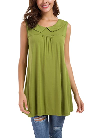 f4b8295711294b Le Vonfort Casual Tunic Tank Tops for Women Short Sleeve Plus Size Loose Fit  Work Shirts and Blouses Green M at Amazon Women s Clothing store