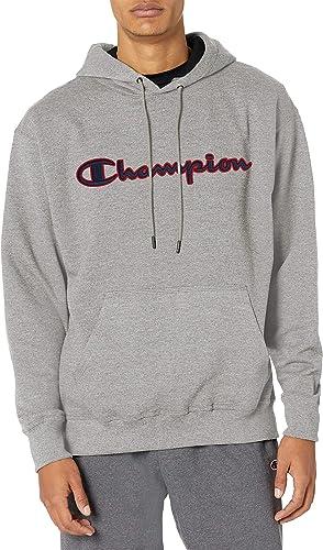 Champion Powerblend Applique White Pullover Hoodie Sweatshirt Adult Medium