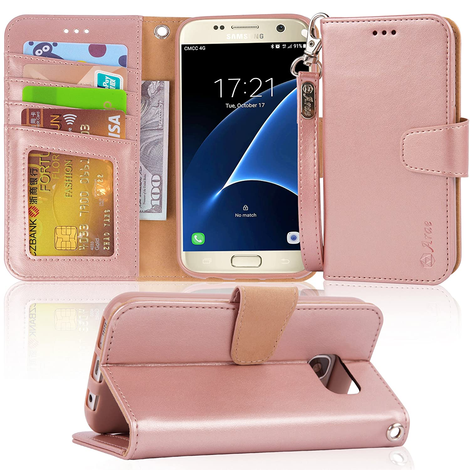 Galaxy s7 Case, Arae [Wrist Strap] Flip Folio [Kickstand Feature] PU Leather Wallet case with ID&Credit Card Pockets for Samsung Galaxy S7 (Rosegold)