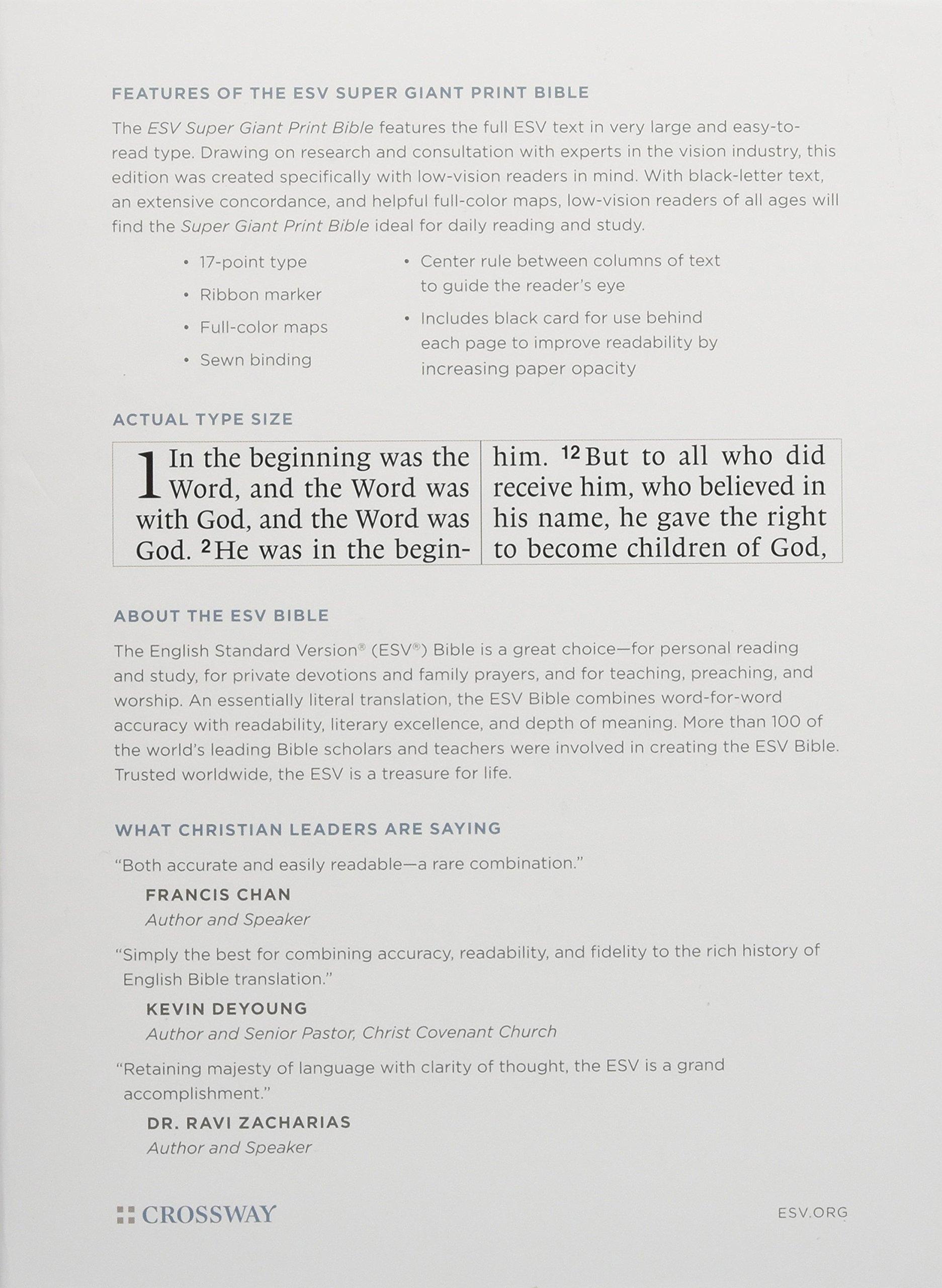 Holy Bible: English Standard Version, Burgundy, TruTone, Super Giant