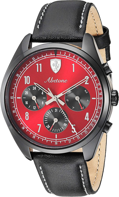 Ferrari Men's Abetone Stainless Steel Quartz Watch with Leather Strap, Black, 20 (Model: 0830571) 91qlGK3sewLUL1500_