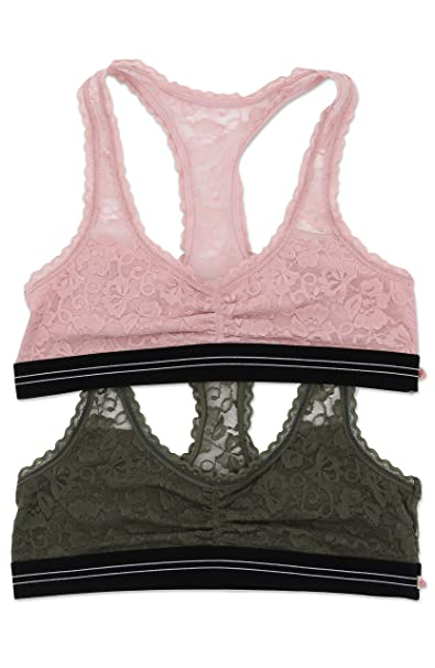 WallFlower Women s Gabby Low Impact Sport Lace Bralette 2 Pack - Pale Mauve    Olive