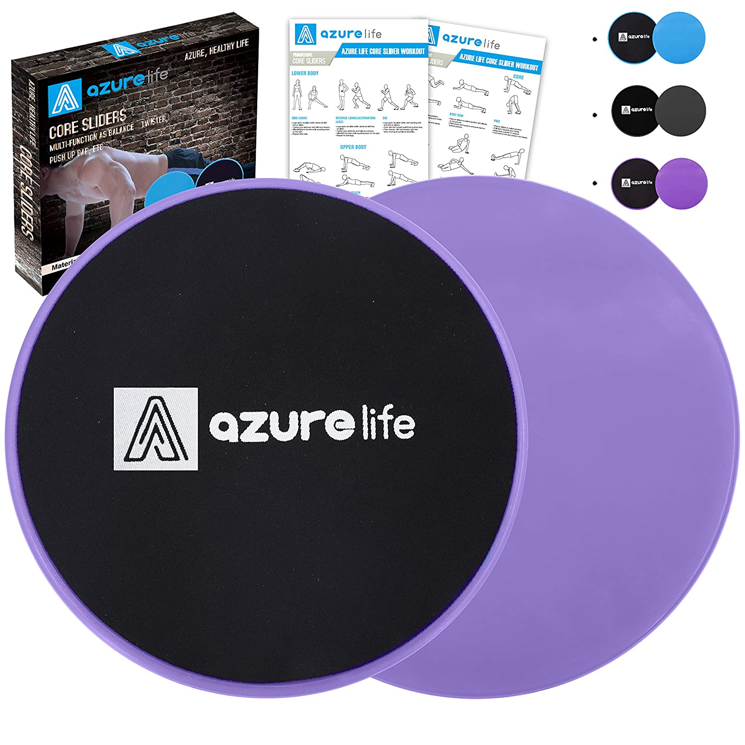 A AZURELIFE Exercise Core Sliders, 2 Pack Dual Sided Exercise Gliding Discs Use on All Surfaces, Light and Portable, Perfect for Abdominal Core Workouts