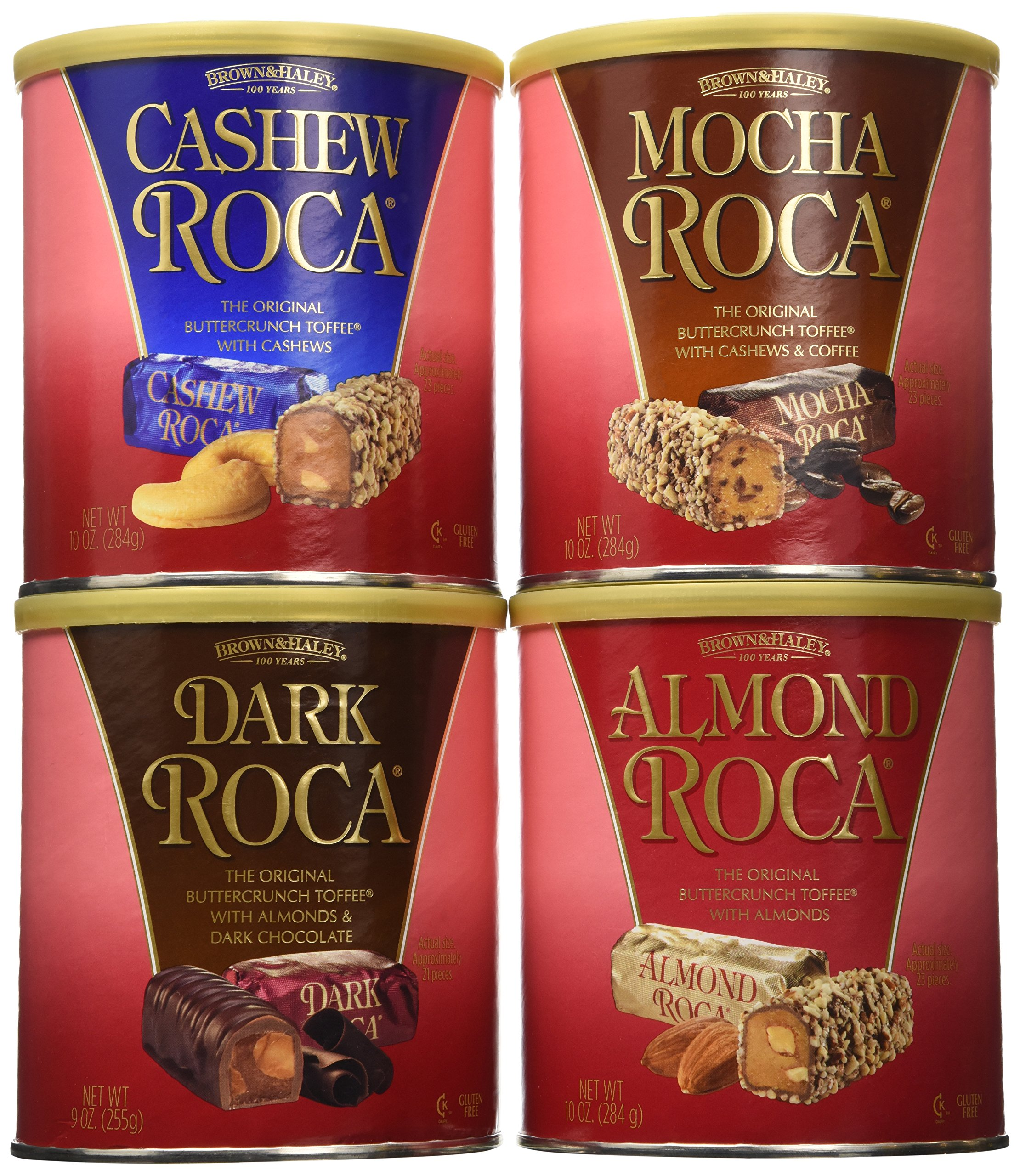 Brown and Haley Dark Roca, Almond Roca, Cashew Roca, Mocha Roca Tote Variety 39 OZ by Brown and Haley