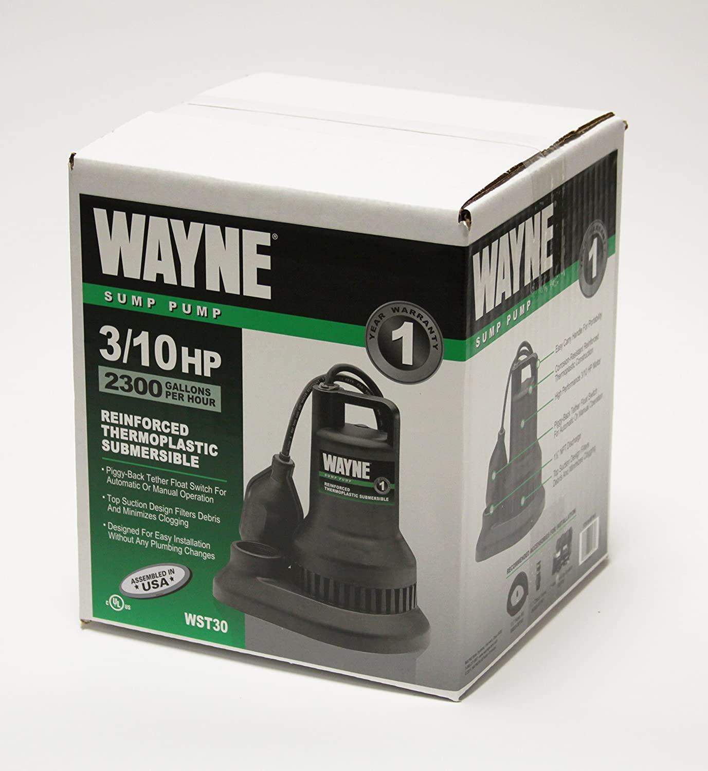 Wayne Wst30 3 10 Hp Reinforced Thermoplastic Submersible Sump Pump Float Switch Wiring With Tether