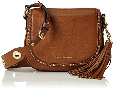 04d14458fefb MICHAEL Michael Kors Womens Brooklyn Leather Grommet Saddle Handbag Tan  Small
