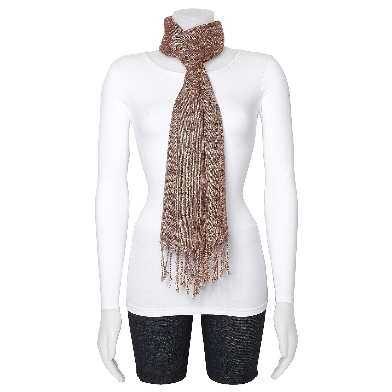 Sweet Pea Fashion Brown//Gold Woven Viscose Fashion Scarf