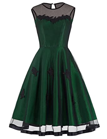 e338ae7a31 Belle Poque A Line Women 1950s Retro Dress Knee Length Size M BP112-2 Green