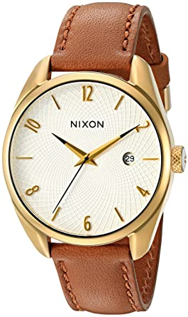 71b09e3e3 Image Unavailable. Image not available for. Color: Nixon Women's  A4731425-00 Bullet Leather Analog Display Japanese Quartz Brown Watch