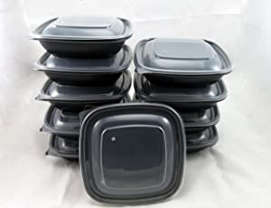 MICROWAVE-SAFE with Vented Lid Freezer Containers ~ perfect for PORTION CONTROL MEAL PREP ~ works great for Grab & Go freezer to microwave meals10 SETS containers & lids – SIZE Single Serving