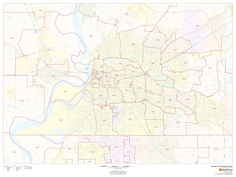 Amazon Com Memphis Tennessee Zip Codes 48 X 36 Matte Plastic