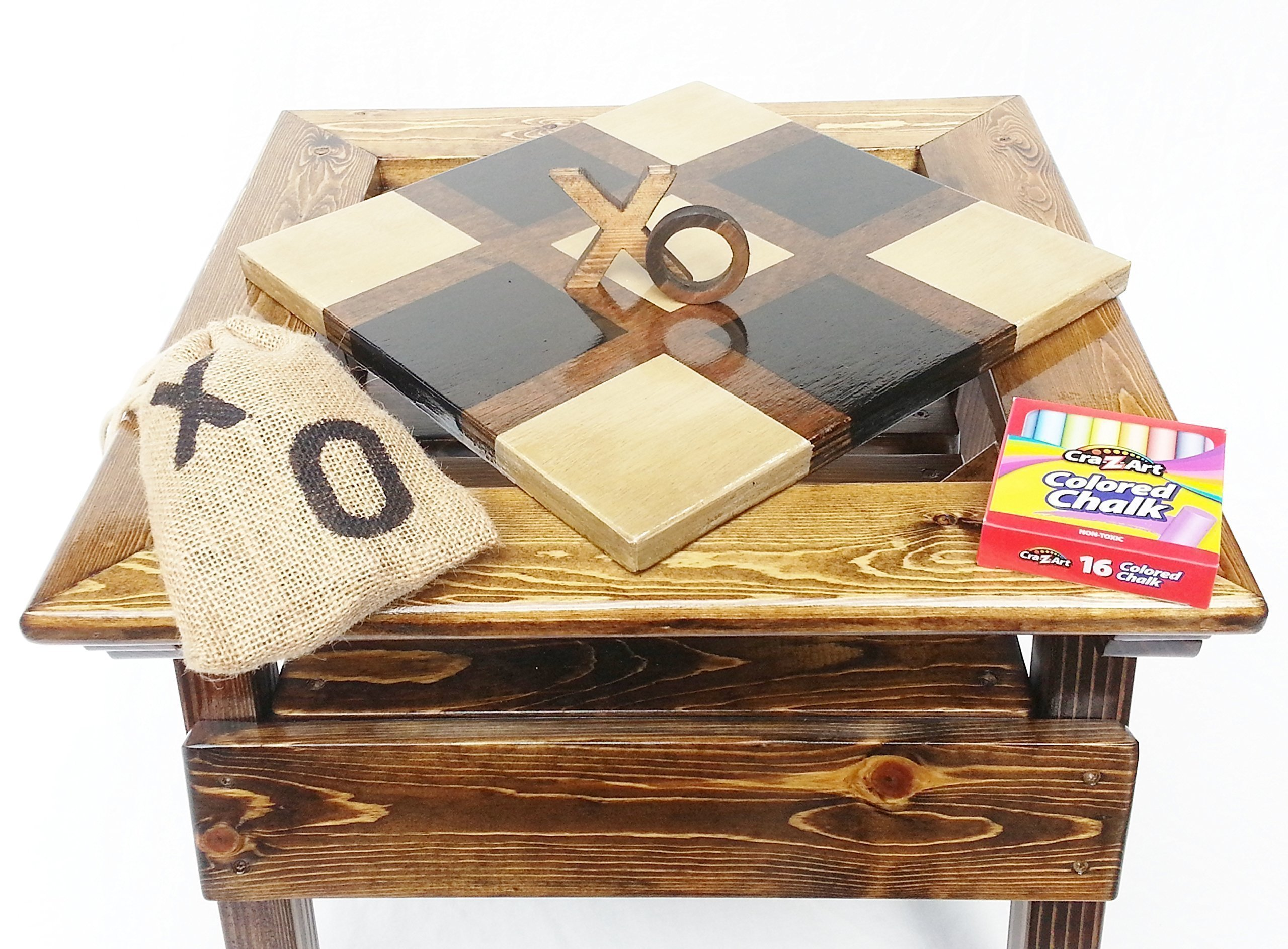 Kids Tic Tac Toe and Chalkboard, 2-sided game board, Solid Wooden Game and Activity Table, Children's Furniture, Toddler Boy or Girl