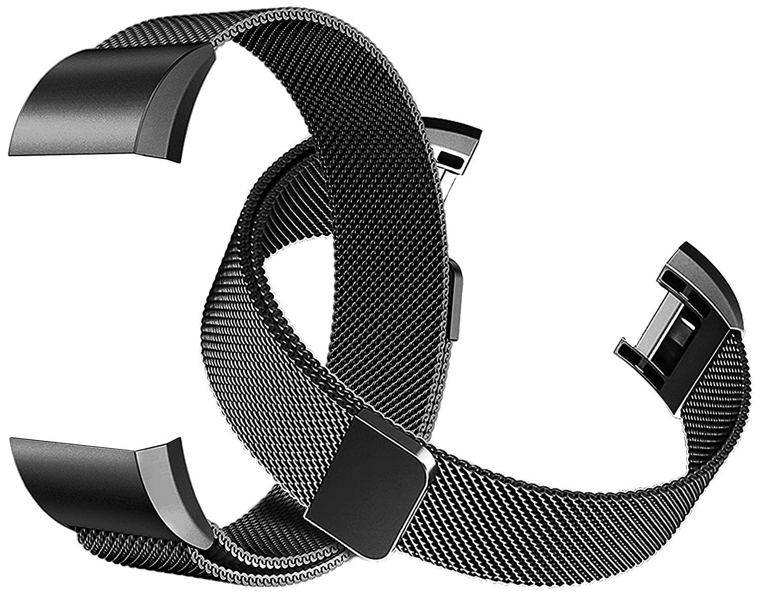 Tecson Magnetic Bands Compatible Fitbit Charge 2 (Pack of 2), Stainless Steel Metal Milanese Replacement Strap with Magnet Lock for Fitbit Charge 2 Black and Black a24