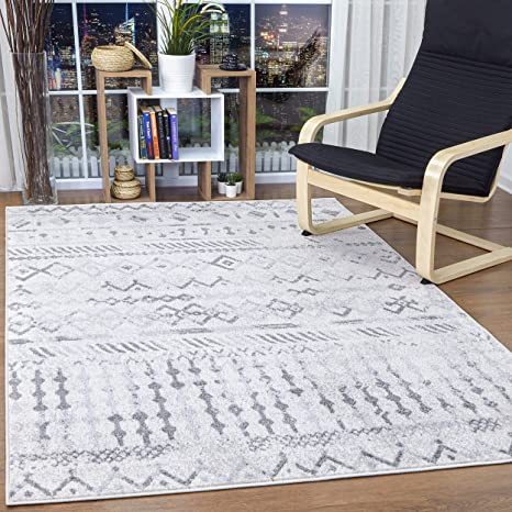 Antep Rugs Bohemian Geometric 8x10 Indoor Area Rug Phoenix Gray White 8 X 10 Kitchen Dining