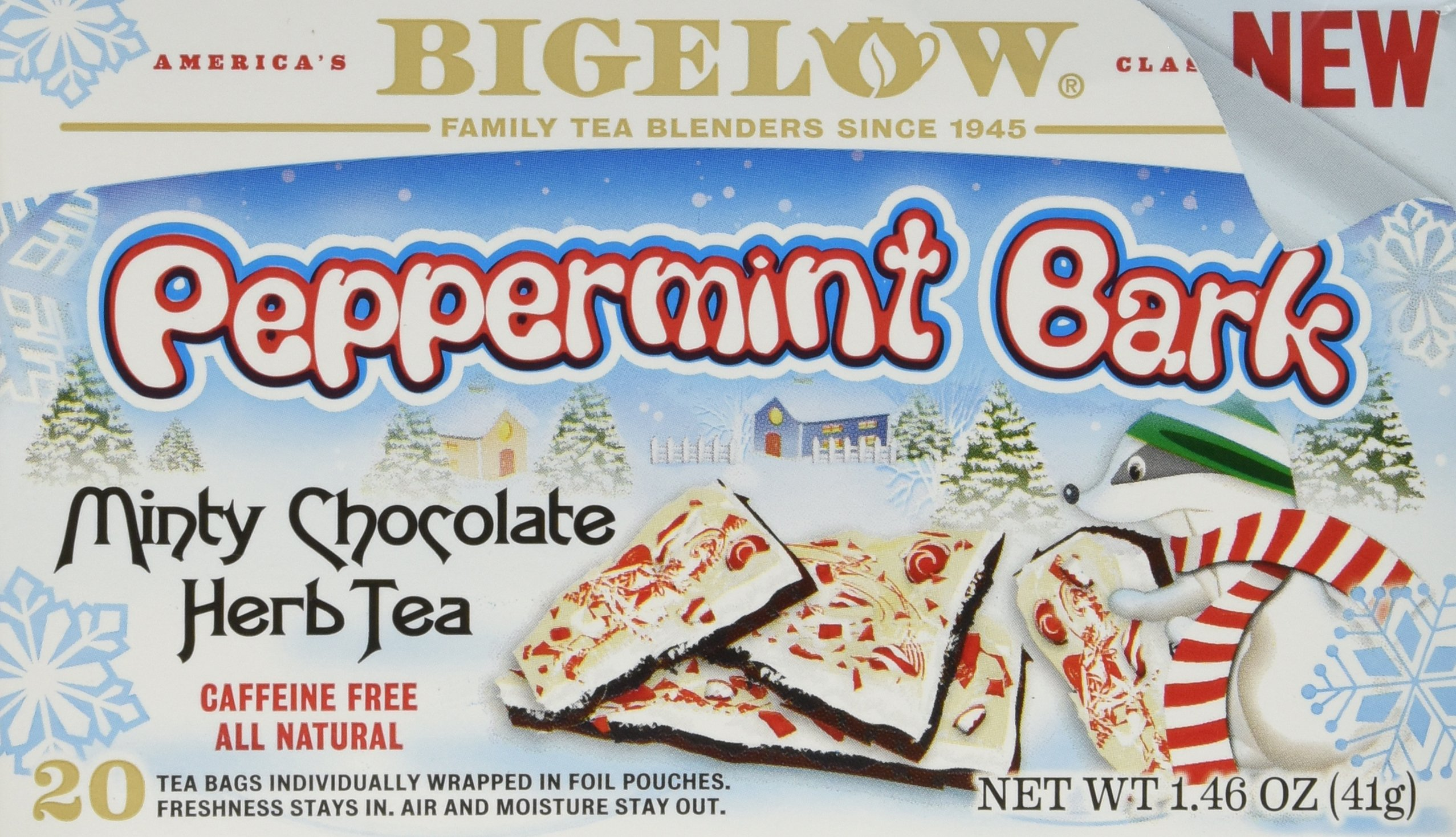 Bigelow Tea Peppermint Bark Minty Chocolate Herbal Tea, 20 Count