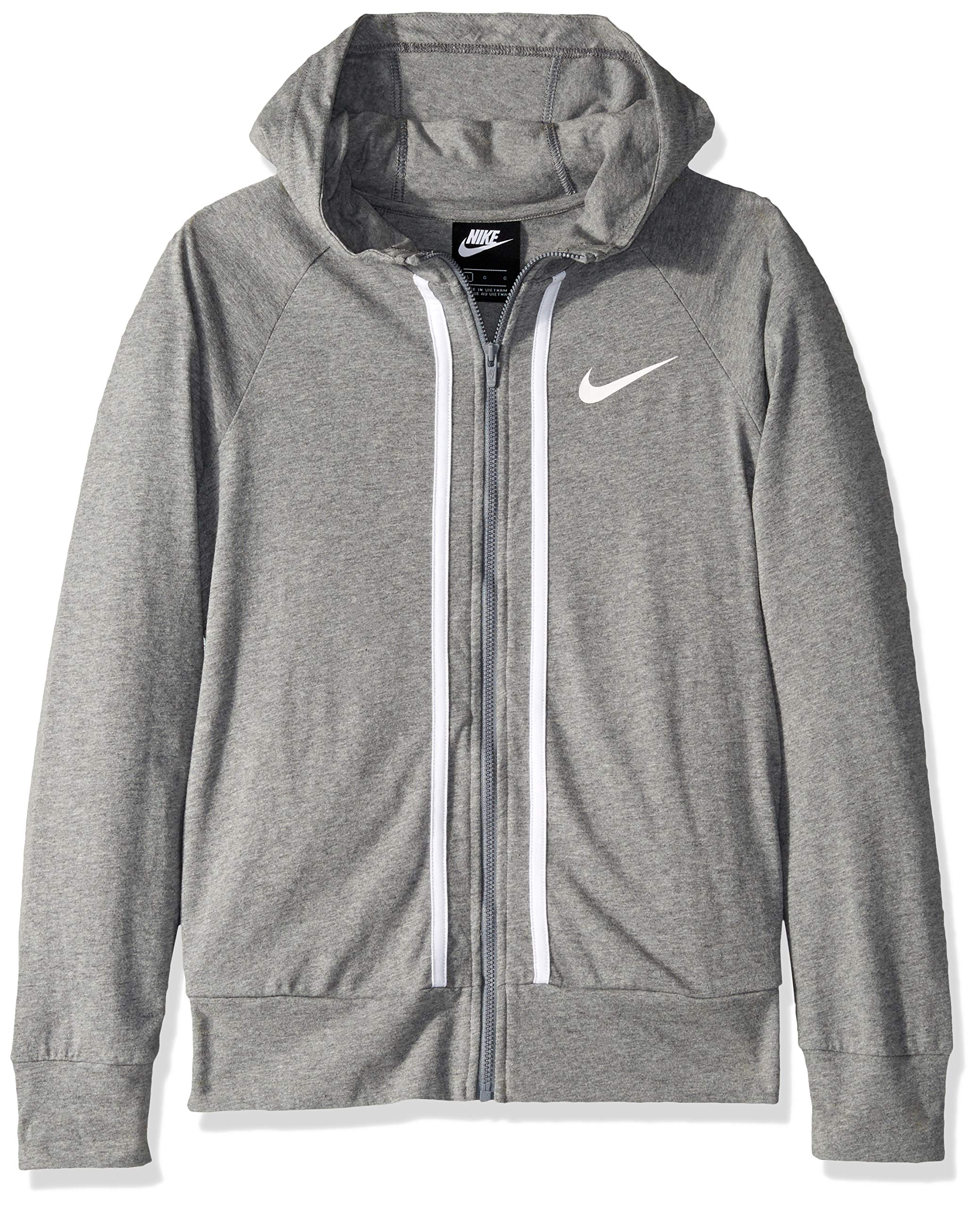Nike Girl's NSW Full-Zip Jersey, Carbon Heather/White, X-Large by Nike