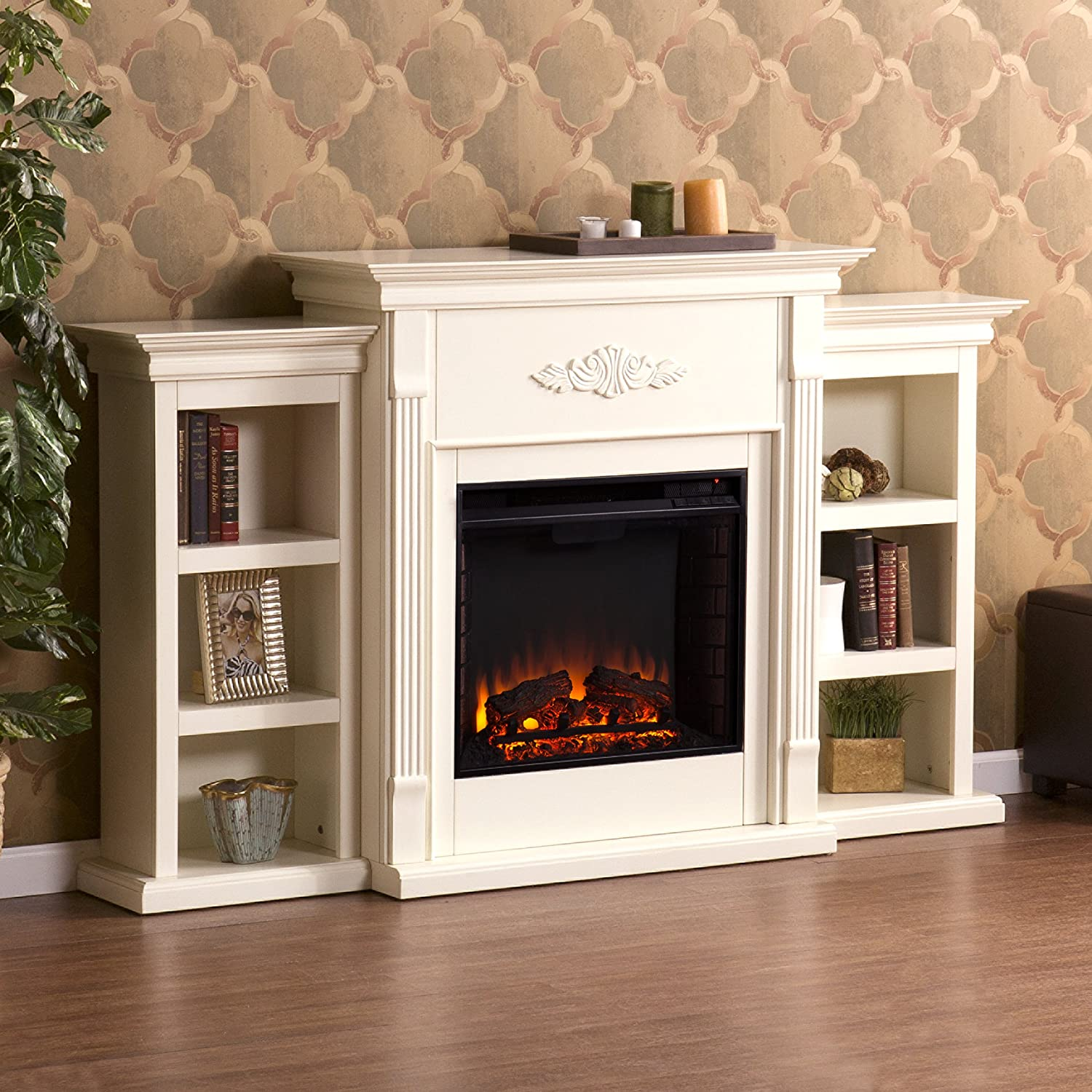 amazon com tennyson electric fireplace w bookcases ivory