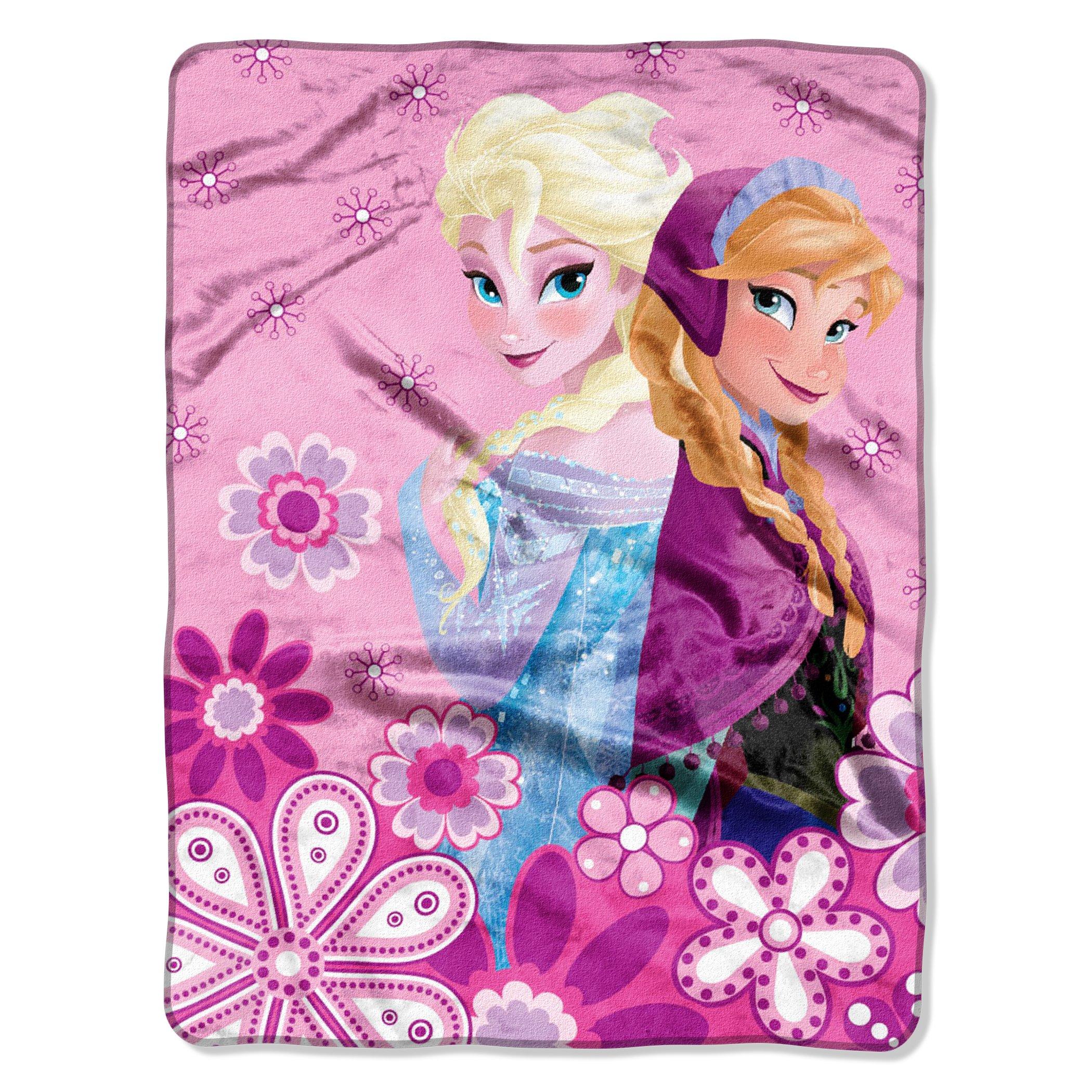 Frozen,''Spring Sisters'' Micro Raschel Throw Blanket, 46'' x 60''
