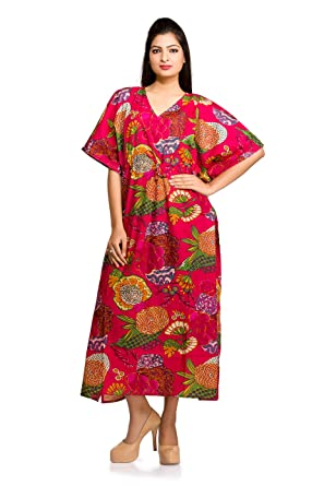 9ab75cd87 Image Unavailable. Image not available for. Color: Long Dress Caftan Kaftan  Maternity Casual Pink Floral Women Plus Size Indian