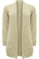 Ladies NEW Long Chunky Cable WAFFLE Knit Long Boyfriend Pocket Top Cardigan S-XL