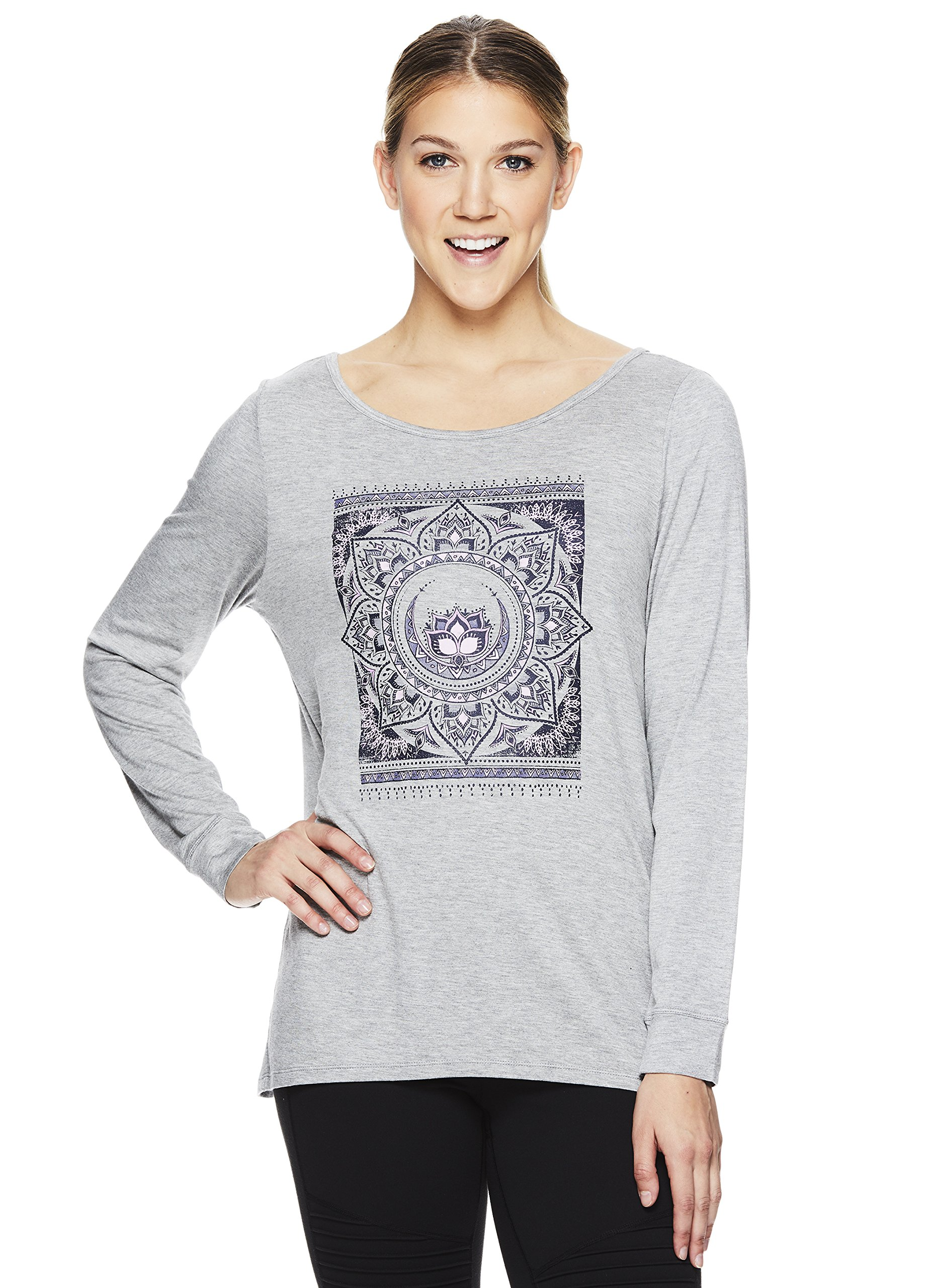 Gaiam Women's Long Sleeve Graphic Yoga T Shirt - Activewear Top w/Open Back - Hailey Grey Heather, Small by Gaiam