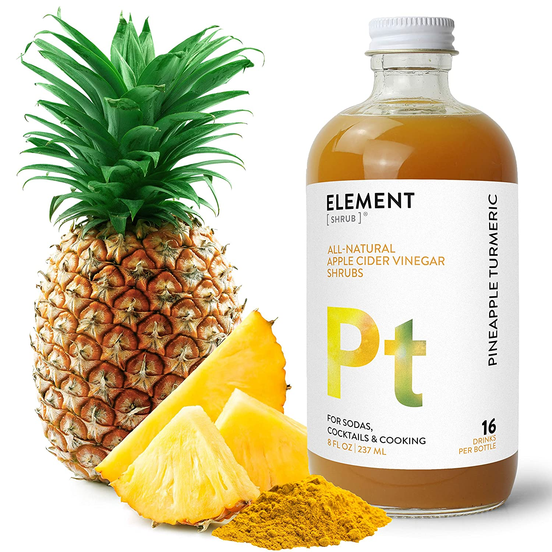 Element Shrub - All-Natural Pineapple Turmeric Shrub Drink Mix - Uses Apple Cider Vinegar (Organic), Pineapple & Organic Turmeric - Organic Apple Cider Vinegar Drink & Cocktail Mix - 8 Ounces