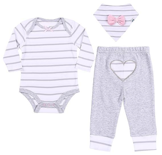 7bce9c09105f Amazon.com  Asher and Olivia Baby Girls  3-Piece Bodysuit