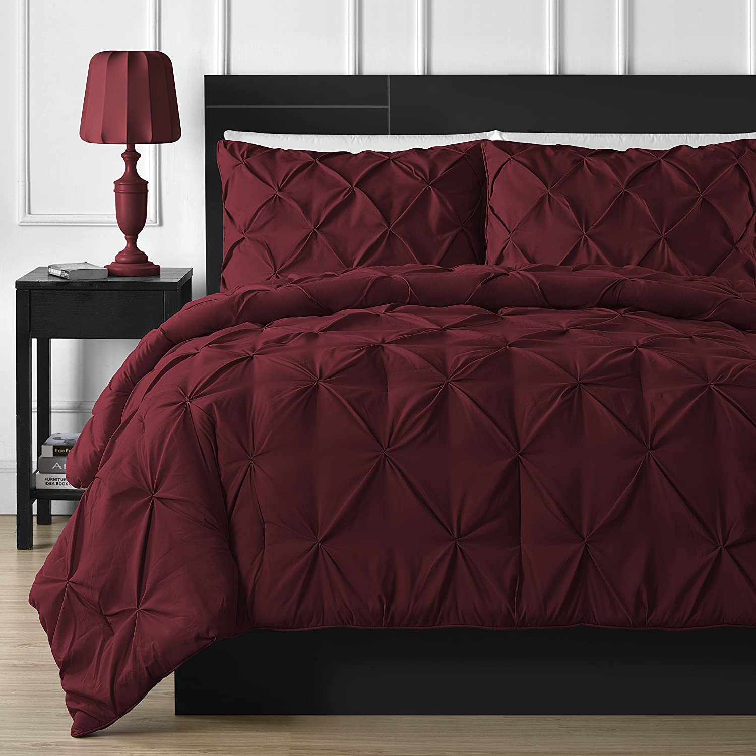 Double-needle Durable Stitching Comfy Bedding 3-piece Pinch Pleat Comforter Set Queen, Burgundy