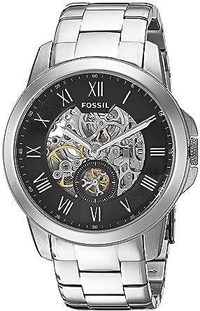 Fossil Grant - Reloj automático con correa de chapada en acero inoxidable para hombre, color plata/negro: Amazon.es: Relojes
