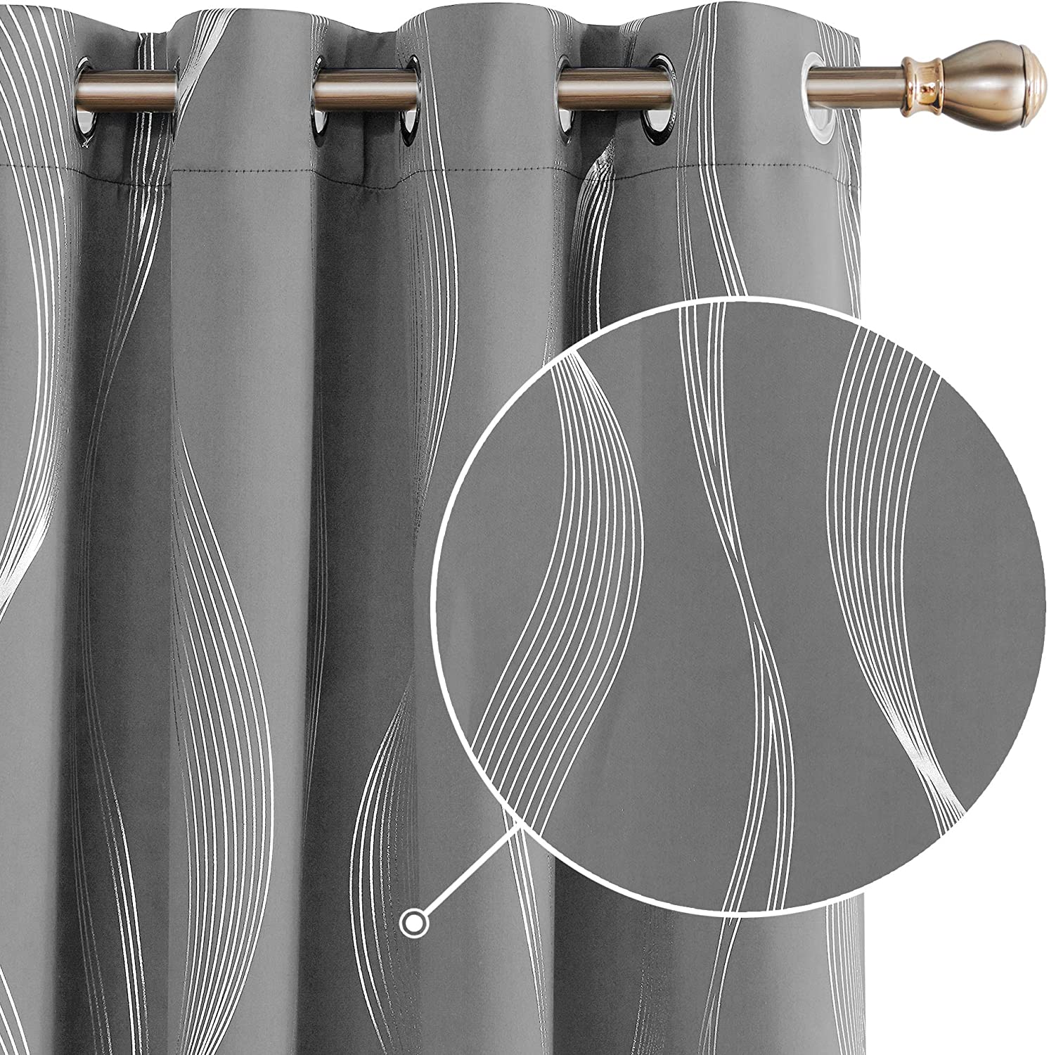 """Deconovo Grey Blackout Curtains for Living Room 72 Drop Silver Wave Line Foil Printed Blackout Curtains Thermal Insulated Curtains Eyelet Curtains for Baby Nursery 55 x 72 Inch Grey Two Panels 2x55""""x72"""" Light Grey Wave Line"""