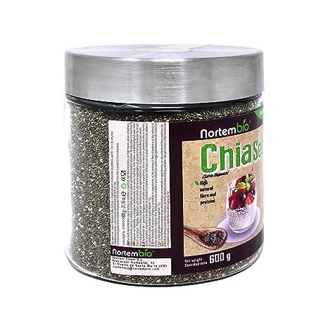 Semillas de Chia (Salvia hispanica) Natural NortemBio 600g, Calidad Premium. Extra de Omega 3, Fibra y Proteína de Origen Vegetal.