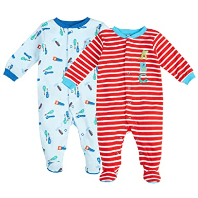 Pekkle Baby 2-Pack Footed Sleeper, Snap, Sleep & Play Onesie Unisex Pajamas