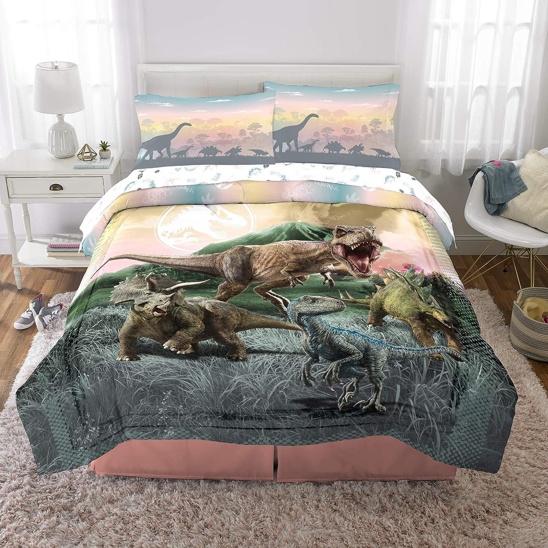 Franco Kids Bedding Super Soft Comforter and Sheet Set, 5 Piece Full Size, Jurassic World Girls