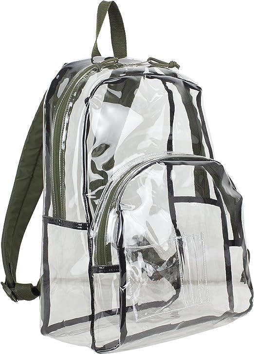 Eastsport PVC Plastic Clear//Black 193971BJBLK Backpack 12 1//2 x 5 1//2 x 17 1//2