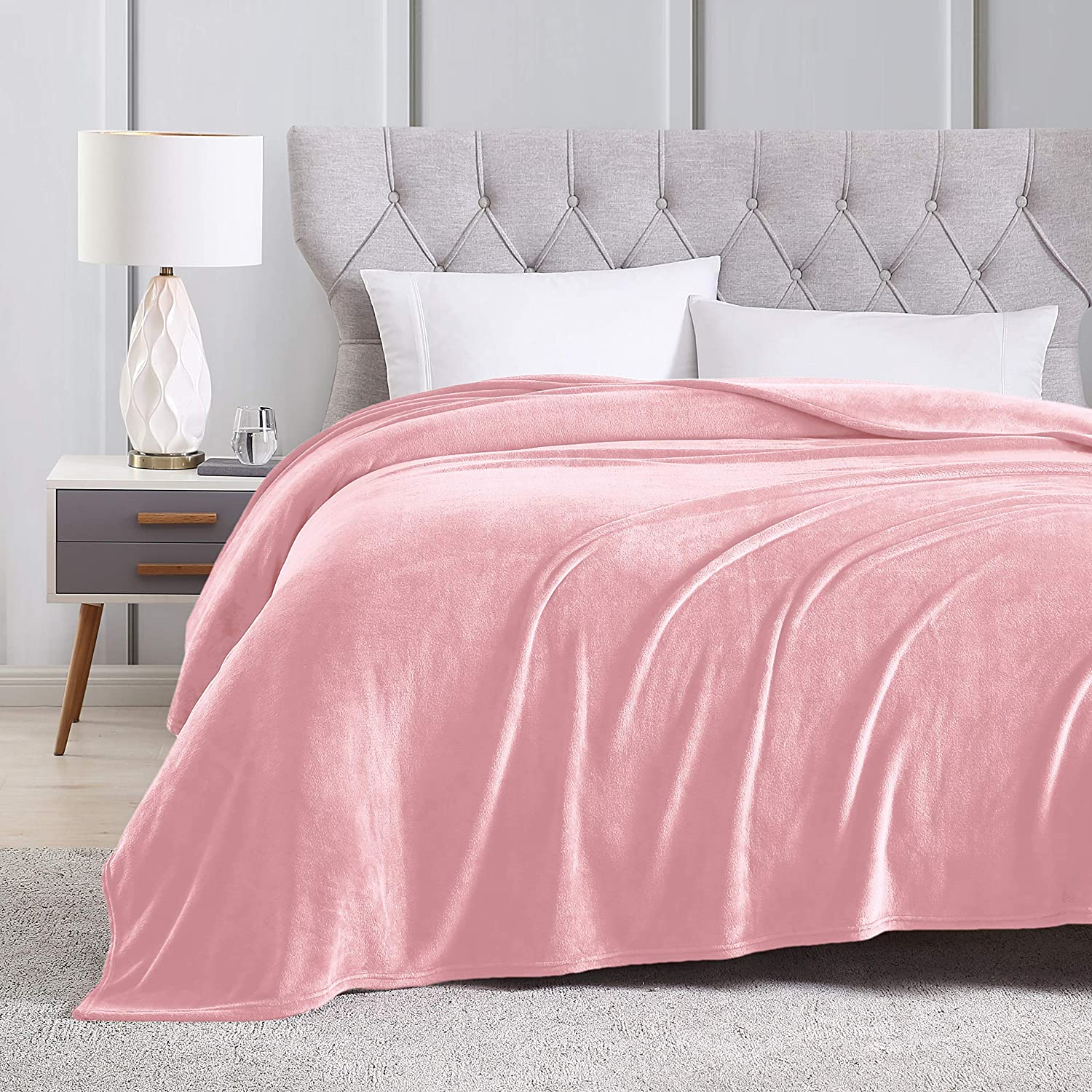 EXQ Home Fleece Blanket Queen Size Pink Throw Blanket for Bed or Couch - Microfiber Fuzzy Flannel Blanket for Adults or Kids