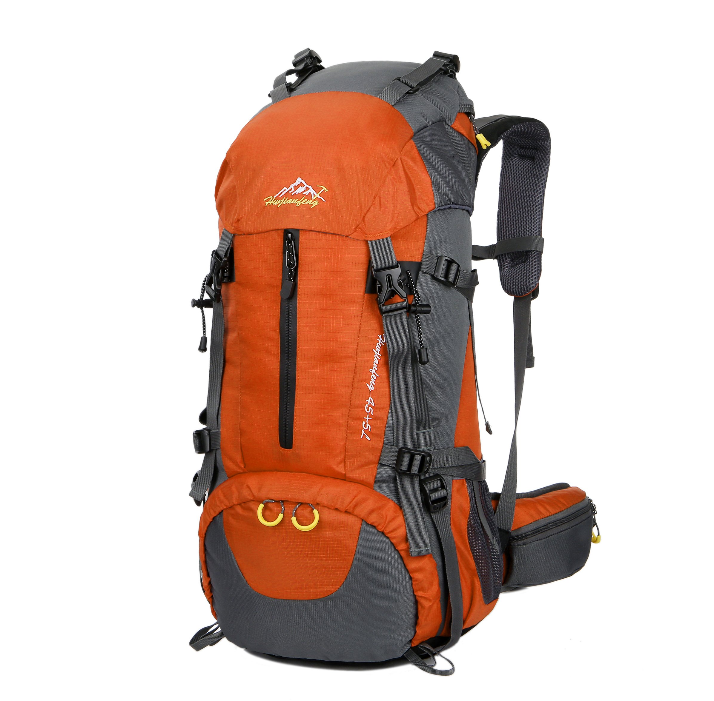 WoneNice 50L(45+5) Waterproof Hiking Backpack - Outdoor Sport Daypack with Rain Cover (Orange, 50L)