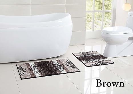 Amazon Com 2 Piece Low Pile Plush Bath Rug Set With Moroccan Design