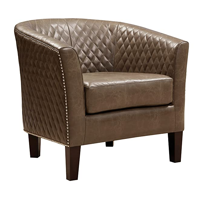Amazon.com   Pulaski Brown Faux Leather Upholstered Bucket Accent Chair  With Nailhead   Chairs