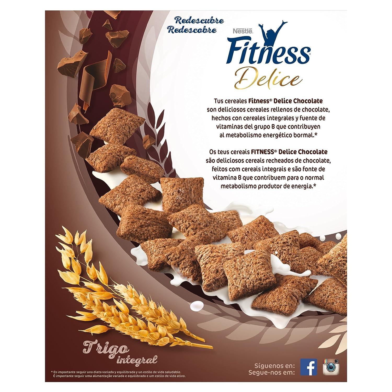 Cereales Nestlé Fitness Delice Cereales de trigo, maíz y arroz tostados con cacao rellenos de crema con chocolate - 4 paquetes de 350 gr: Amazon.es: ...