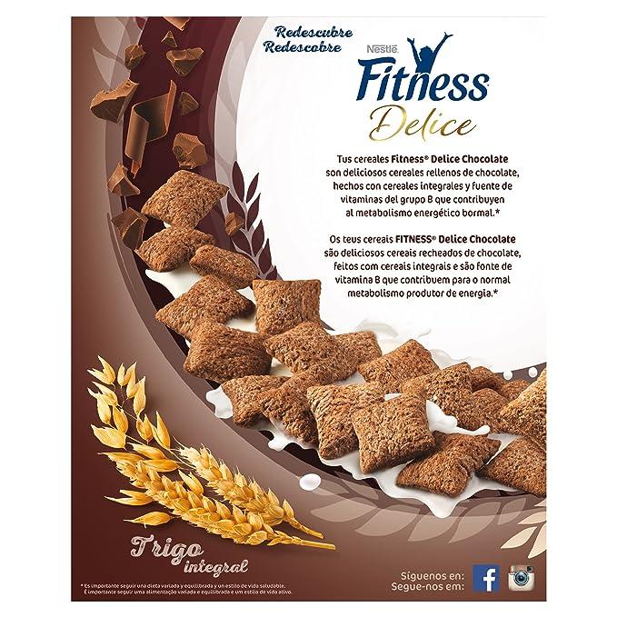 Cereales Nestlé Fitness Delice - Cereales de trigo, maíz y arroz tostados con cacao rellenos de crema con chocolate - 4 paquetes de cereales de 350 g