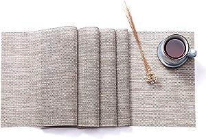 Hysenm Western Style Eco-Friendly Rectangular Heat Insulation PVC Vinyl Weave Table Runner, beige