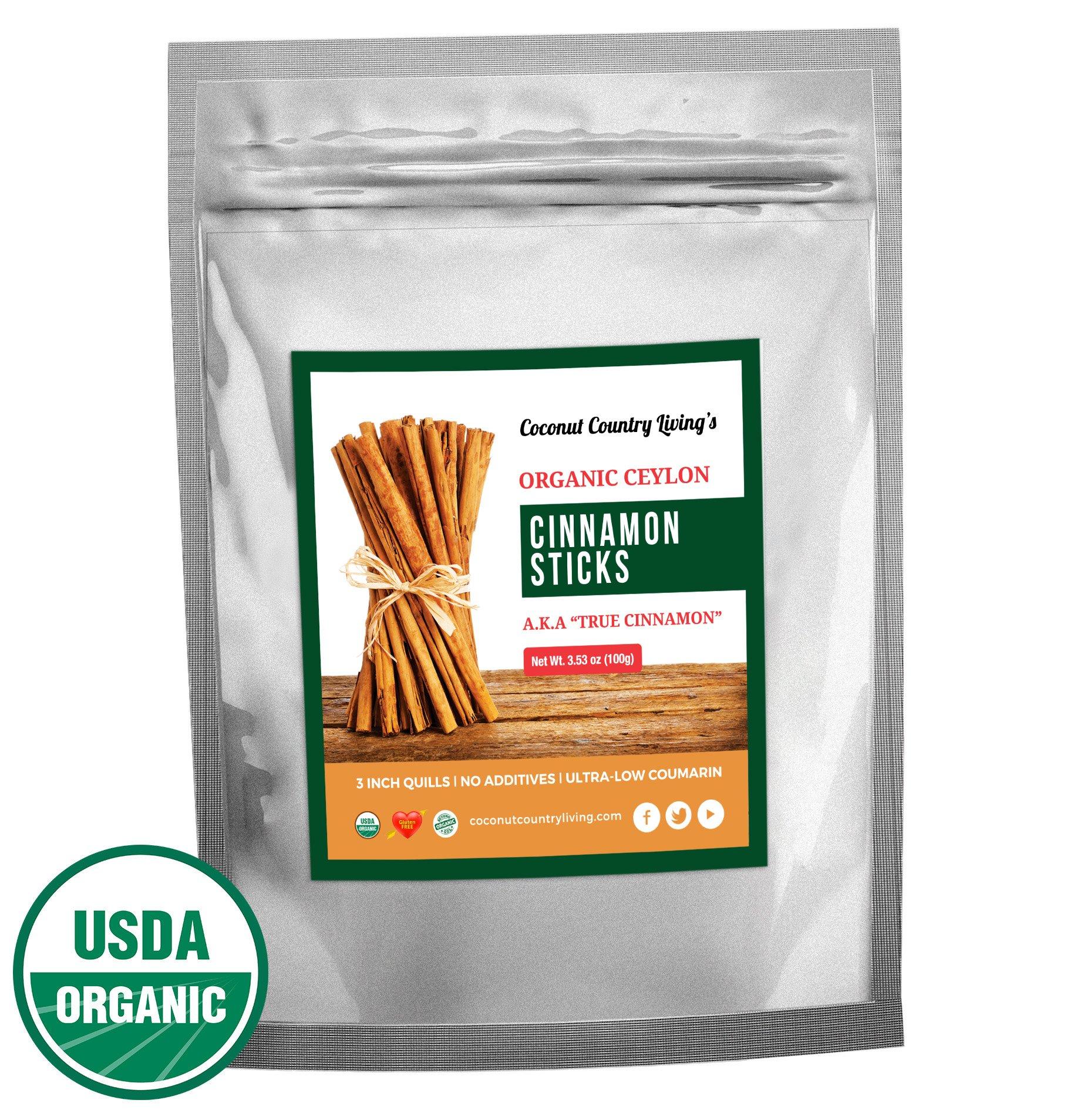 Organic Cinnamon Sticks Ceylon 3.5 oz Fairtrade, Freshly Harvested in Ceylon w/E-BOOK