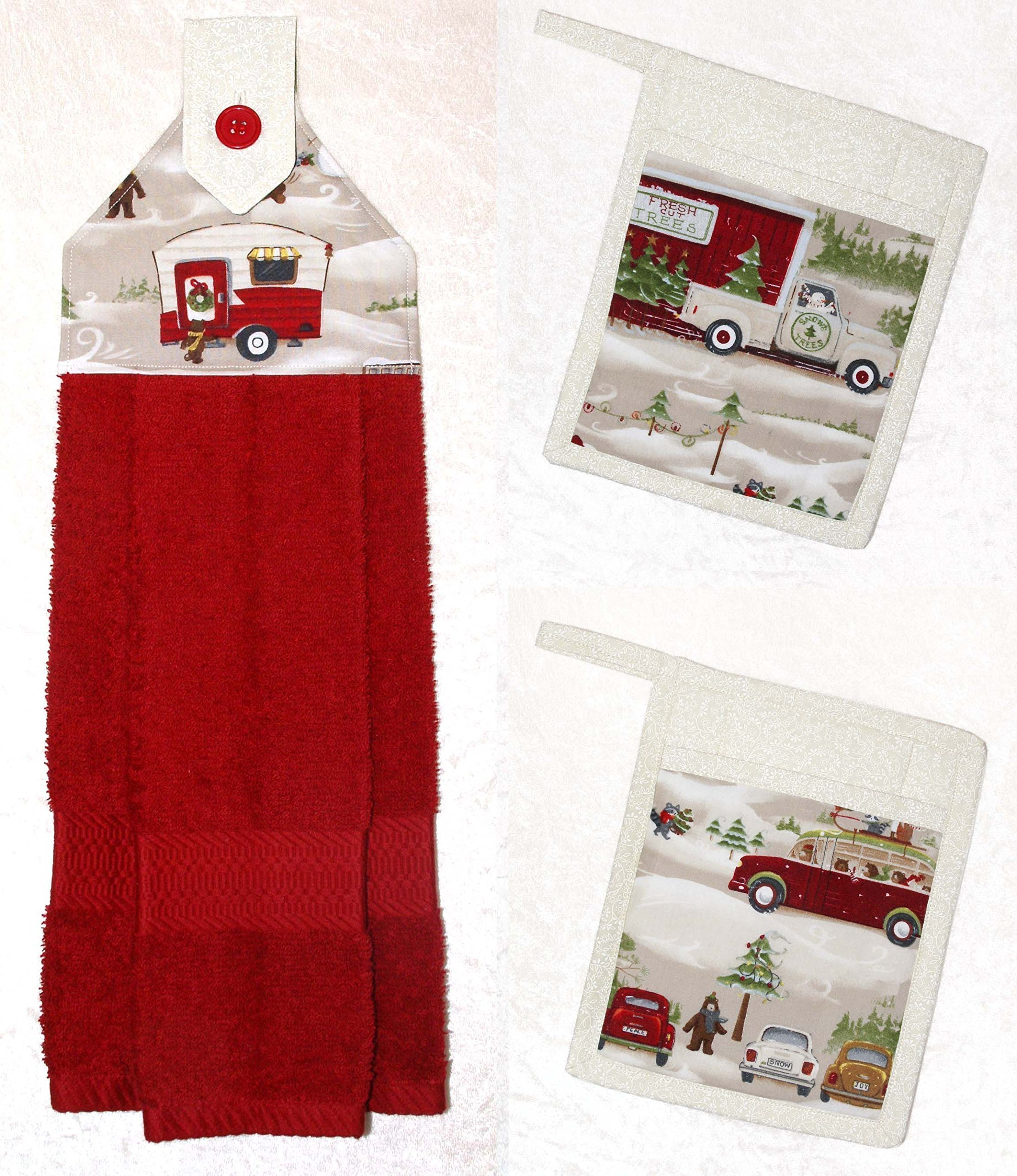 3 Piece RV Camping Decor - 1 Hanging Hand Towel - 2 Pocket Potholders - Vintage Christmas Scenes by Green Acorn Kitchen