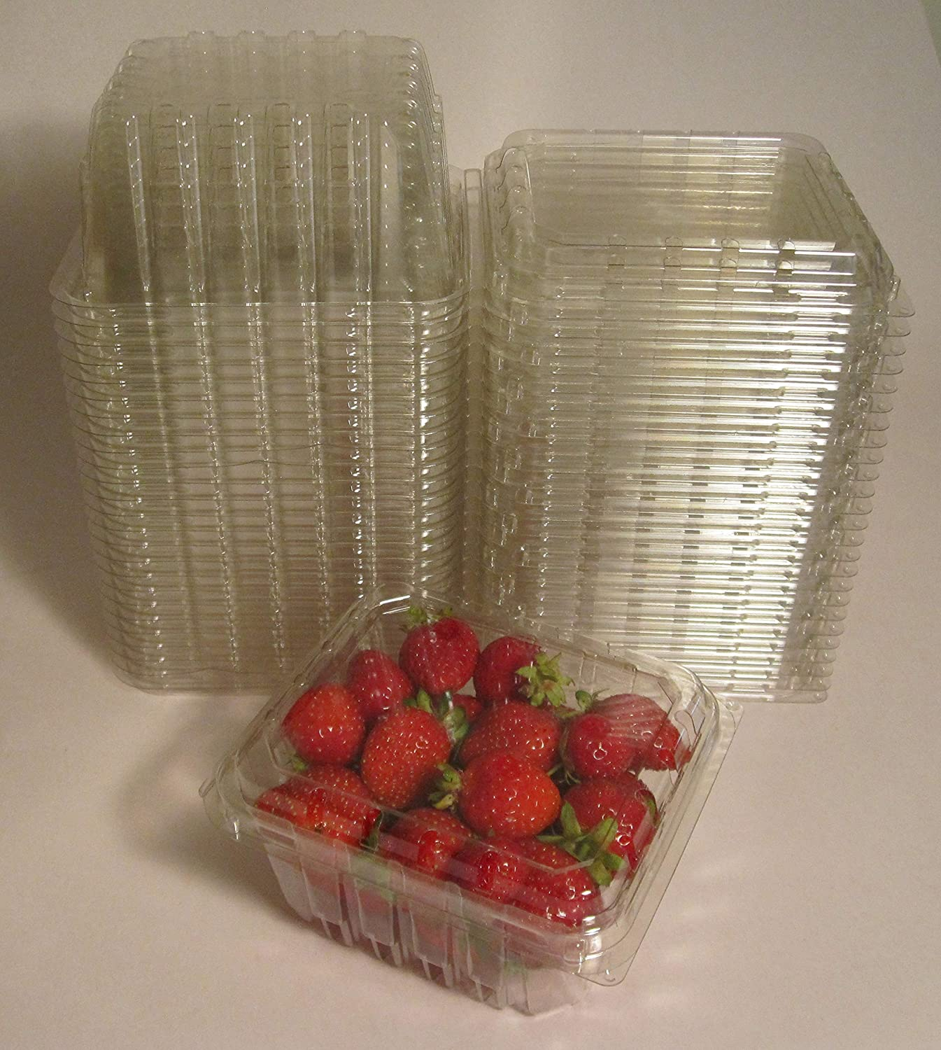 Plastic Clamshell Containers for Berries, Cherry Tomatoes, and Other Small Produce - 1 Pint Size (Pack of 50)