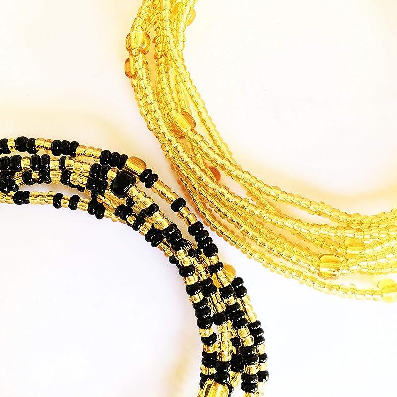 WaistBeads Plus Size Waist Beads, Belly Chain Waist Beads African Waist Beads Gold Iris Double Strand Waist Bead Set