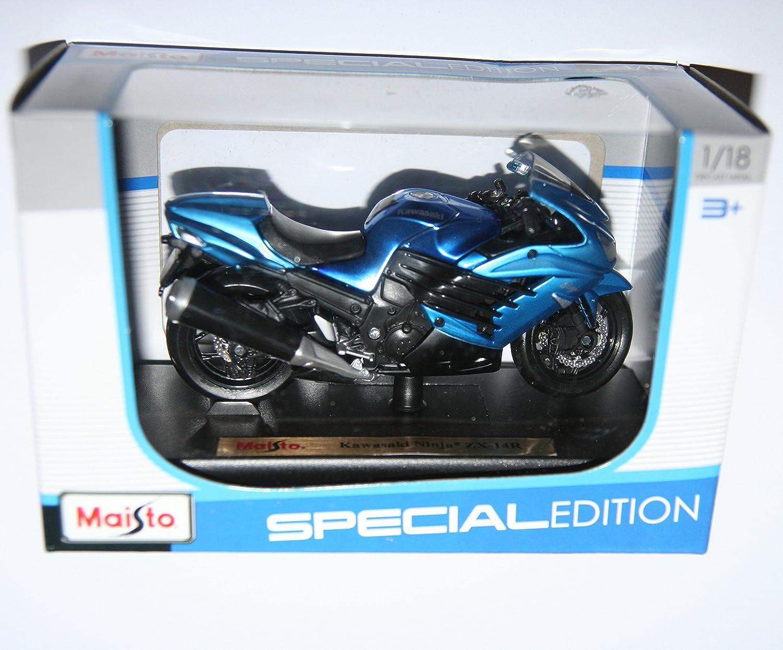 Amazon.com: Maisto Kawasaki Ninja Zx-14R Blue Motorcycle Die ...