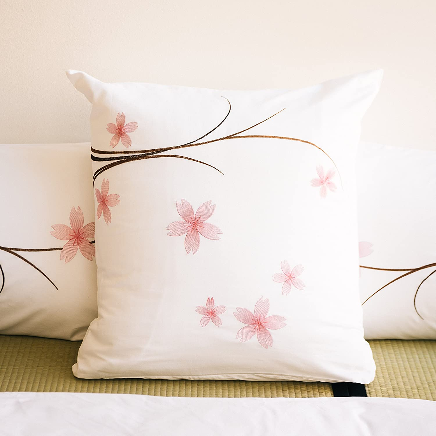 White 2 Piece Sham Pack Set with Sakura Flower Oriental