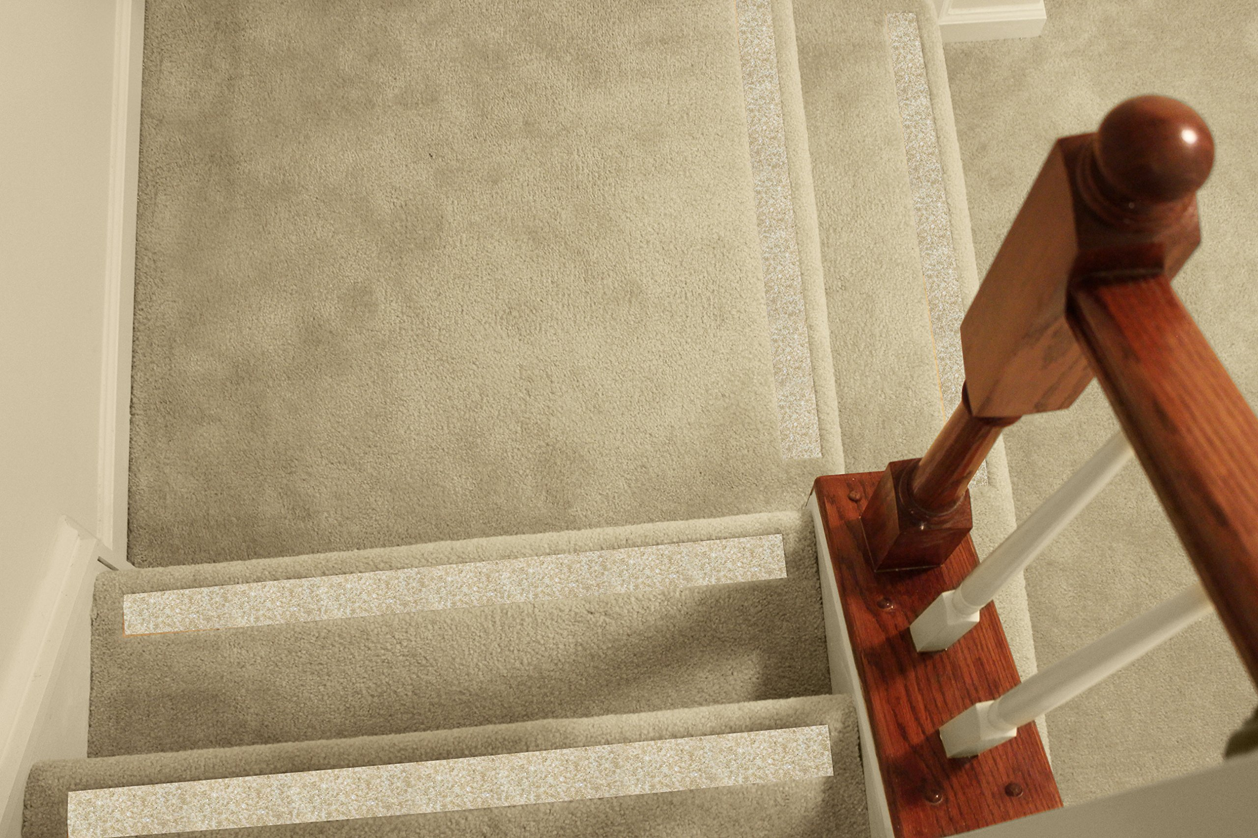 No-slip Strips - Non-Slip Nosing for Increased Safety On Carpeted Stairs, Beige-Gravel Color, MEDIUM Grit Traction for Indoor Carpeted Stairs, 37x2 Inches, 5 Strips